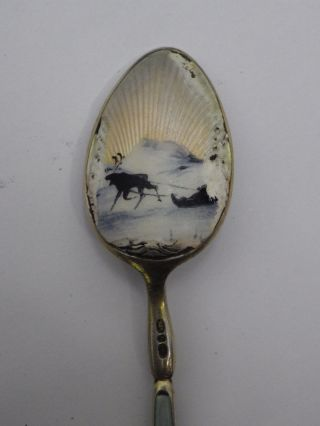 Antique David Andersen 925 Silver Gilt Cloisonne Spoon Scandinavian photo