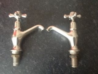 Antique French Sink Basin Taps Chromed Brass photo