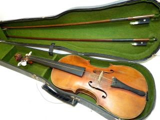 Antique Full Size 4/4 Scale Mechanical Tuner Fiddle Violin W/ 2 Old Bows & Case photo