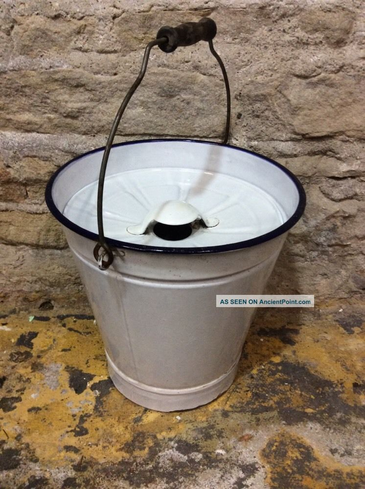 Vintage Enamel Blue On White Pail/ Bucket With Vented Lid & Handle Hardware/Home photo
