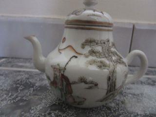 Miniature Tea Pot Chinese Porcelain Famille Rose.  Nr photo