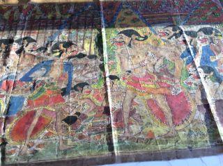 Rare Old Antique Indonesian Painted Textile Art Wayang Keris Kris Dagger photo