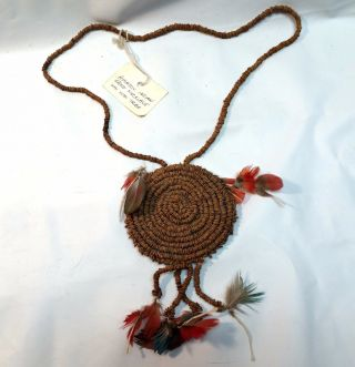 Amazon Indian Seed Necklace With Feathers Wai Wai Tribe photo