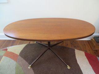 Mid Century Modern Danish Oval Coffee Table Eames Era Teak Vtg Retro Eames Era photo