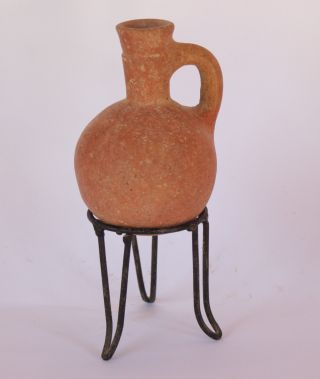 Ancient Red Burnished Juglet,  Iron Age Iii 9 - 6th Bc,  Rare Wine/oil Pouring Tool photo