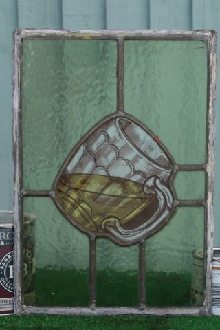 19thc Stained Glass & Leaded Panel With Ale Glass Centrally C1880s photo