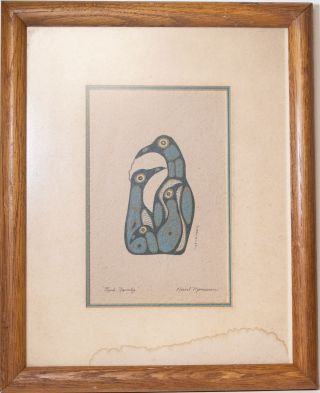 """Unusual Northwest Coast Print: """"bird Family"""" By Norval Morrisseau - photo"""