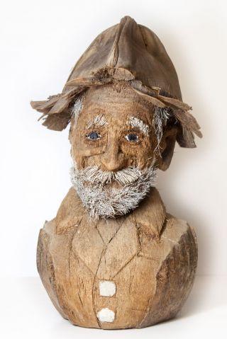 Unique Carved Folk Art Coconut - Robinson Crusoe's