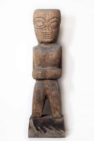 Marquesas Island Carved Hardwood Figure Purchased In Papeete Tahiti In 1946 photo