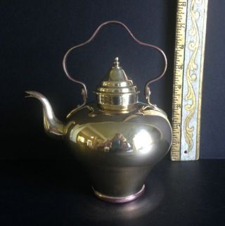 Antique English Brass Miniature Tea Pot W Lid & Swing Handle.  Copper Bottom photo