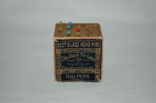 1800s Antique Stayin Pin Cube Germany Best Glass Head Pins Box W/ 9 Pins photo
