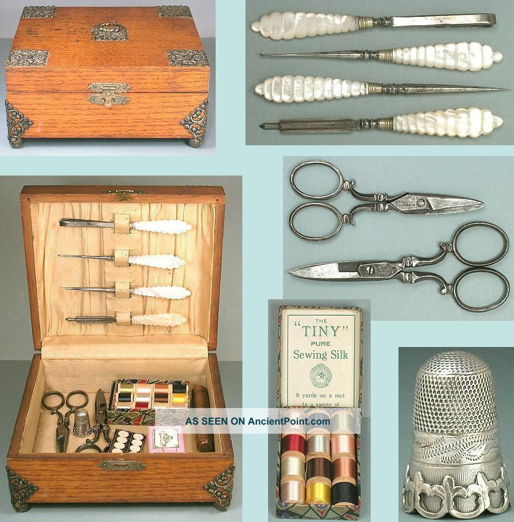 Antique Oak Sewing Box & Tools,  Sterling Silver Thimble English Circa 1870 Other Antique Sewing photo