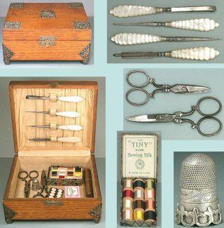Antique Oak Sewing Box & Tools,  Sterling Silver Thimble English Circa 1870 photo