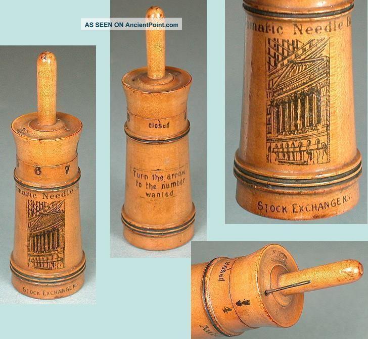 Antique Wood Mitrailleuse Needle Case York Stock Exchange Souvenir C1910 Needles & Cases photo