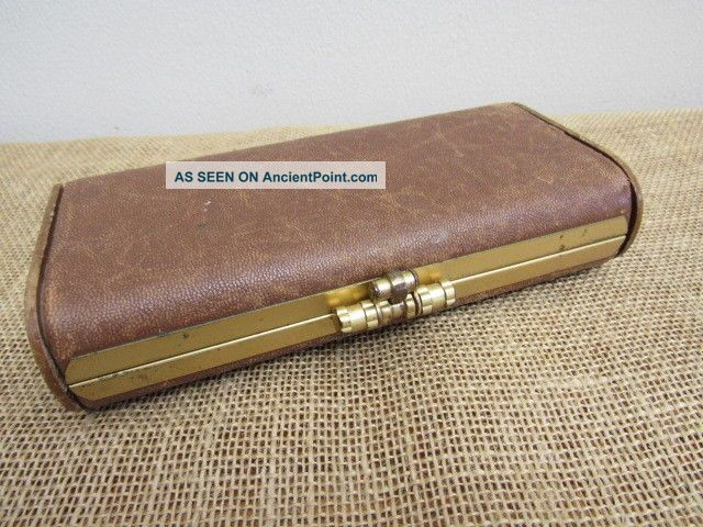 Antique Vtg Clamshell Sewing Wood & Leather Wallet Clutch Kit Thread Holder Other Antique Sewing photo