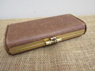 Antique Vtg Clamshell Sewing Wood & Leather Wallet Clutch Kit Thread Holder photo