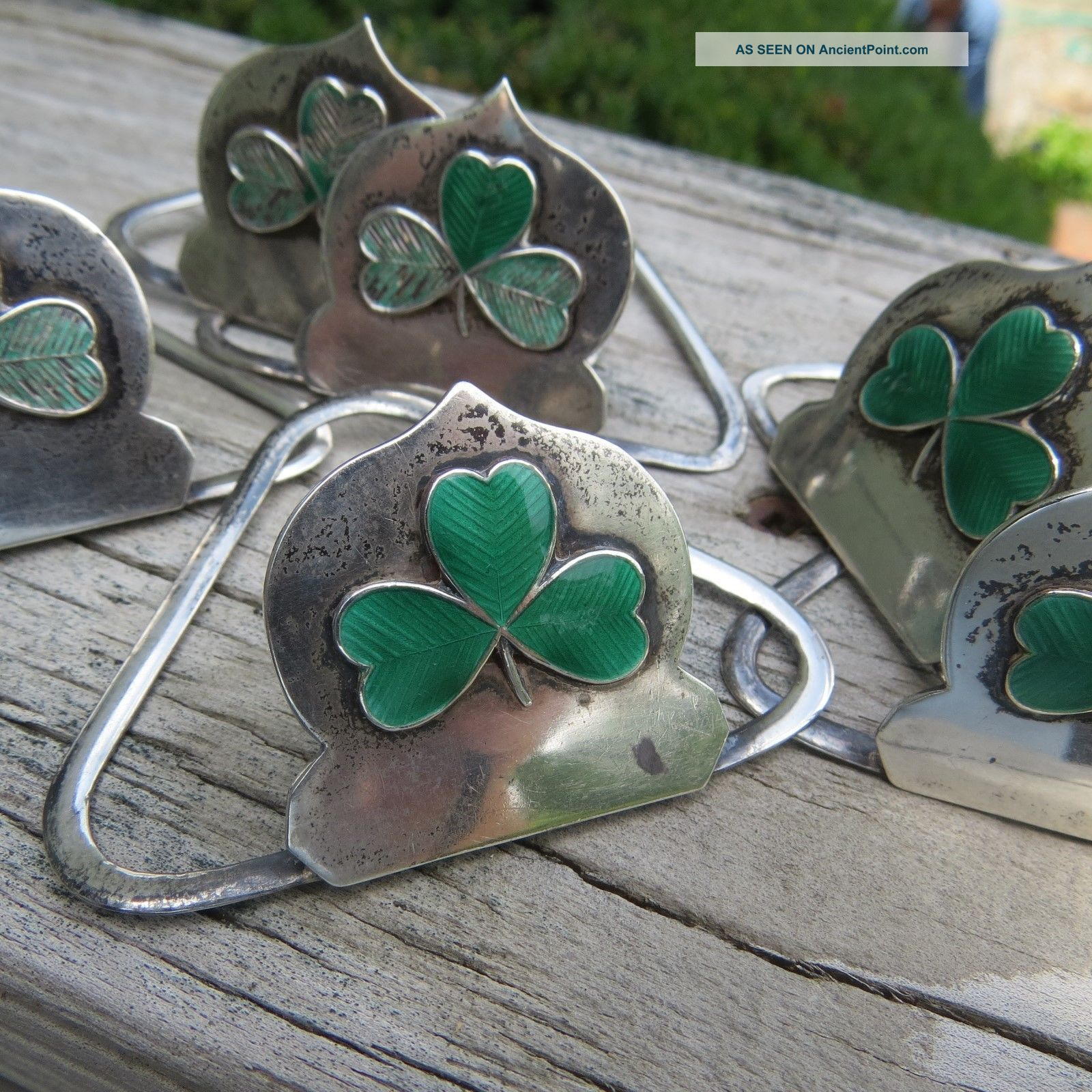 6 Sterling Silver Antique Napkin Ring Place Card Enamel Clover Birmingham Englnd Napkin Rings & Clips photo