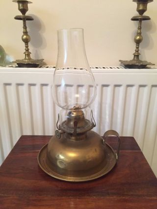 A Vintage Brass Oil Lamp Finger Wall Lamp Order British Made photo