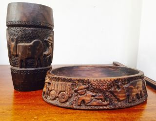 Vtg Primitive Hand Carved Chalice & Oval Paten Bowl W/people & Farm Animals photo