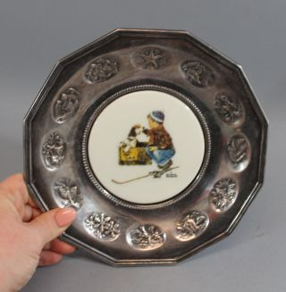 1979 Vintage Gorham Limited Edition Brown & Bigelow Norman Rockwell Plate photo