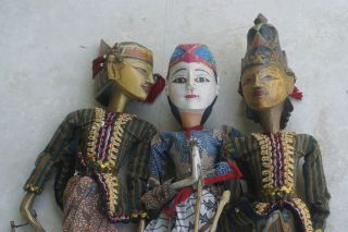 3 Choices Authentic Old Hand Made Java Theater Wayang Golek Wood Puppet Dolls photo