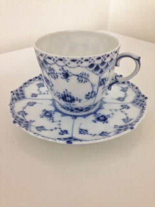 Vintage Royal Copenhagen Porcelain Full Lace Coffee Cup & Saucer photo