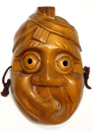 1 Japanese Hyottoko Mask Kyogen Kagura Noh Wood Wooden Hand Made photo
