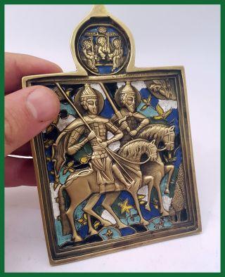 Russia Orthodox Bronze Icon Saints Princes Boris And Gleb.  19th.  Cent.  Enamels. photo