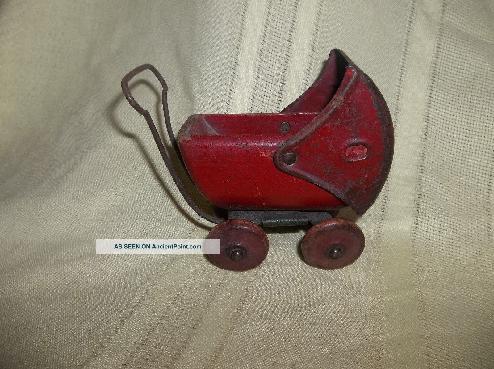 Vintage Red Wood Metal Toy Baby Doll Stroller Carriage Buggy Baby Carriages & Buggies photo