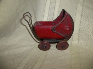 Vintage Red Wood Metal Toy Baby Doll Stroller Carriage Buggy photo