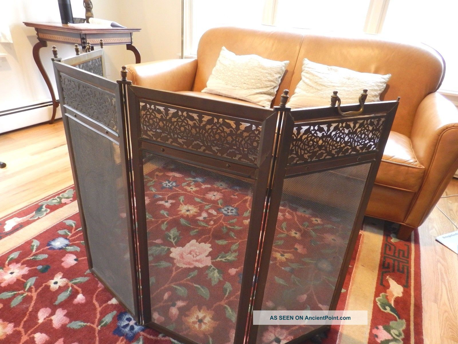 Antique Brass Bronze Four Panel Folding Fireplace Screen Architectural Hearth Ware photo