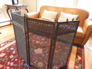 Antique Brass Bronze Four Panel Folding Fireplace Screen Architectural photo