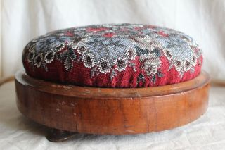 Antique Victorian Wooden Berlin Beaded Footstool With Feet - 12