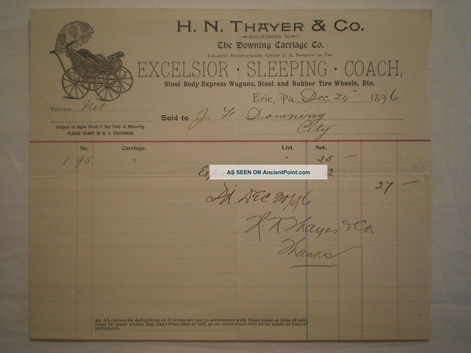 Antique 1896 Erie Pa H N Thayer & Co Baby Carriage/wagon Buggy Billhead Baby Carriages & Buggies photo