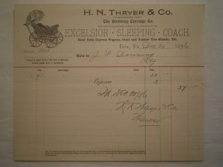 Antique 1896 Erie Pa H N Thayer & Co Baby Carriage/wagon Buggy Billhead photo