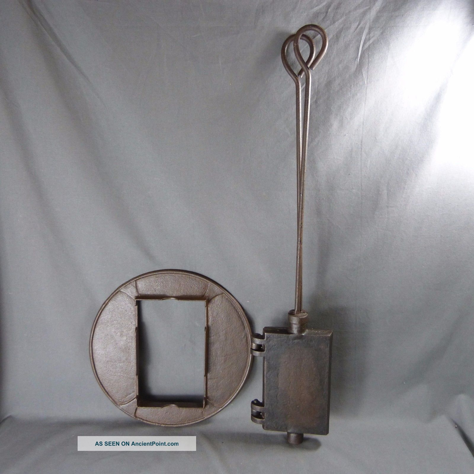Antique French Cast Iron Waffle Maker Press.  Wrought Iron Pancake - 19th Century Hearth Ware photo