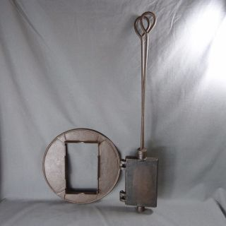 Antique French Cast Iron Waffle Maker Press.  Wrought Iron Pancake - 19th Century photo