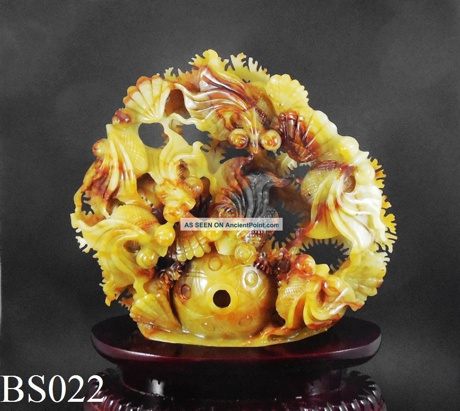 Natural Jade Statue Sculpture Hand Carved 1.  65kg Goldfish Pond Wood Base Bs0022 Chinese photo