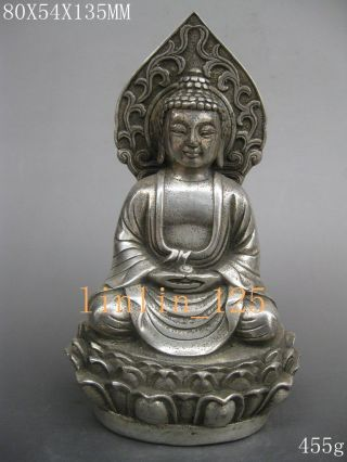 Chinese Old Tibet Wealth Hand - Carved Exquisite Silver Guanyin Statue photo