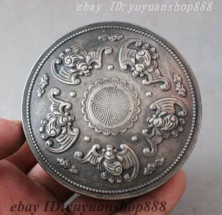 Old Marked Chinese Miao Silver Fu Shou Longevity Wealth Money 5 Bat Statue Box photo