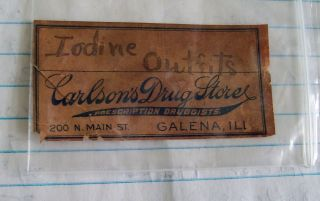 Antique 1800s Carlson ' S Pharmacy Apothecary Label Galena Illinois Drug Store photo