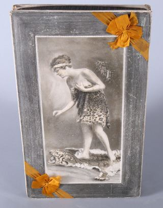 Large Rare Victorian Embossed Antique Candy Box Maiden On Tiger Rug C.  1900 Huge photo