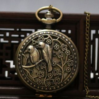 Oriental Vintage Collectible Handwork Birds Brass Pocket Watch Csyb425 photo