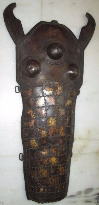 Highly Aged Very Rare Horse Face Armor With Inlay Of Brass photo