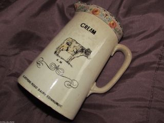 Old Advertising Pottery Cream Jug Km Slateford Road Dairy Edinburgh Scotland photo