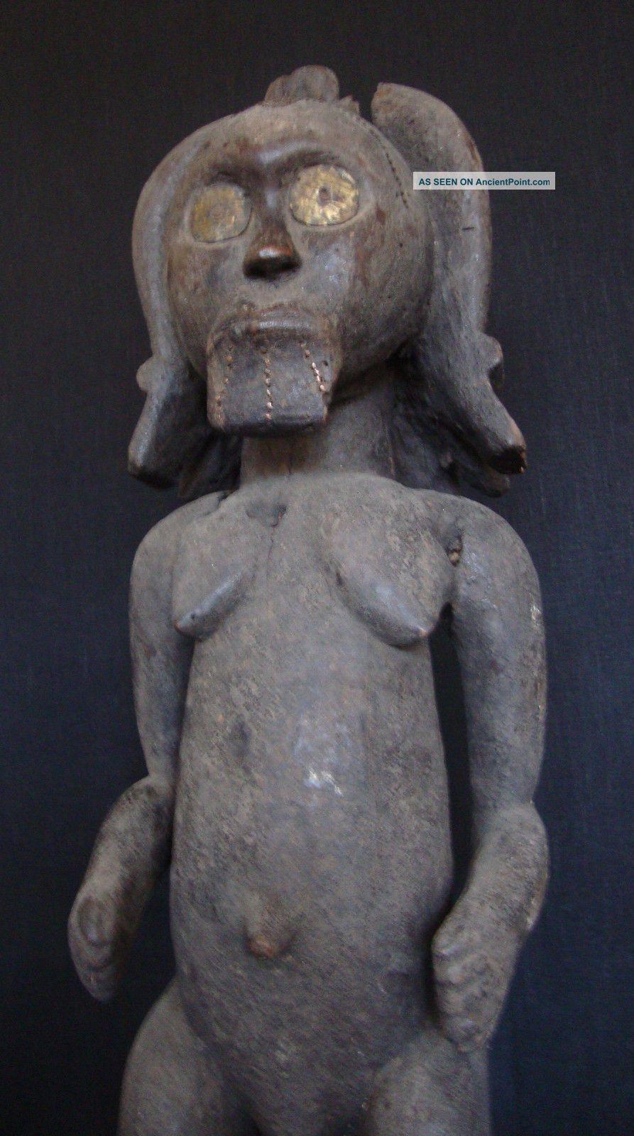 80cm.  Fang Ancestor Reliquary Statue W/provenance - Metal Sheathed Bieri Figure Sculptures & Statues photo