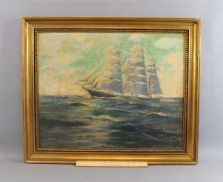 Antique Frank Moulton Maritime Clipper Sailing Ship Seascape Oil Painting,  Nr photo