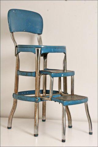 Vintage Cosco Stool Chair Factory Machine Age Loft Industrial Metal Bar Blue 50s photo