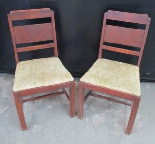 2 Antique Solid Wood Dining Chairs Oak Chairs Upholstered Seat Chairs photo