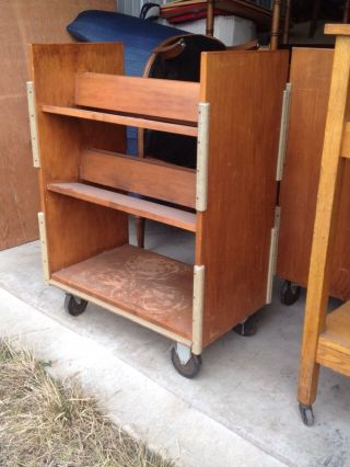 Vintage Maple Rolling Bookcase Classroom Library School Home Office photo